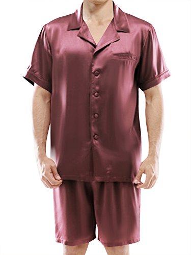ELLESILK 100% Seide Pyjama Herren Kurz, 22 Momme Maulbeerseide Shorty Schlafanzug Rosinfarbe