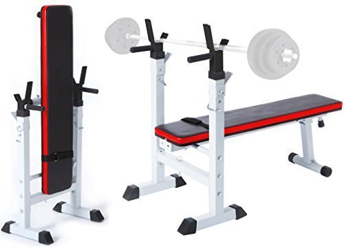 TNP Accessories Weight Bench Shoulder Folding Home Heavy Duty Multiuse Barbell Flat Exercise Gym - (...