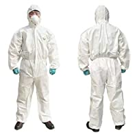 5 Piece Set Thick Disposable Protective Clothing,SMS Non-Woven Siamese Dustproof Isolation Gown,Spray Paint And Livestock Farm Overalls,XL