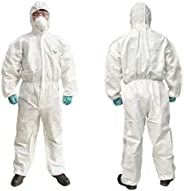 5 Piece Set Thick Disposable Protective Clothing,SMS Non-Woven Siamese Dustproof Isolation Gown,Spray Paint An