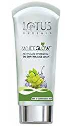 Lotus herbals whiteglow active skin whitening + oil control face wash 100g (Pack of 2)