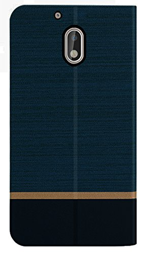 Febelo (TM) Professional Design Video Stand View Perfect Fitting Flip Cover Case for Moto G Play 4th Generation / Moto G4 Play – Navy Blue Color
