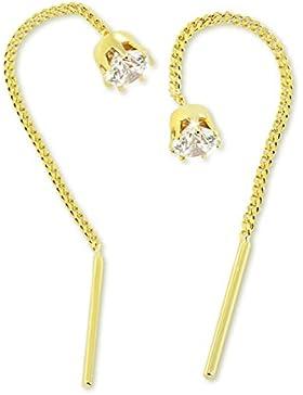 VASCAYA Damen Ohrdurchzieher Ohrring Gold 333 Zirkonia weiß Krappen Geschenk