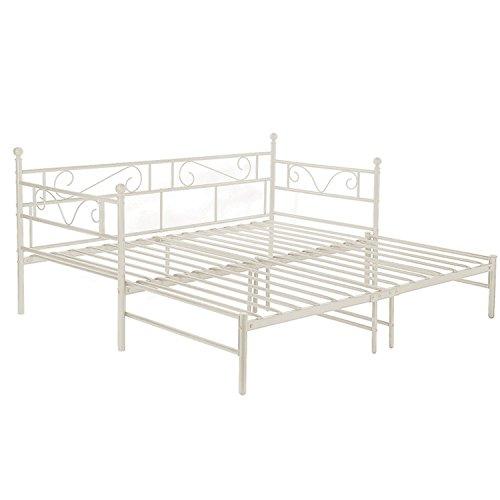 EGGREE Tagesbett Versailles Weiß Metall Single Sofa Optionen für Ausziehbett, Tagesbett mit Unterbett Trundle,Elfenbein Beige -