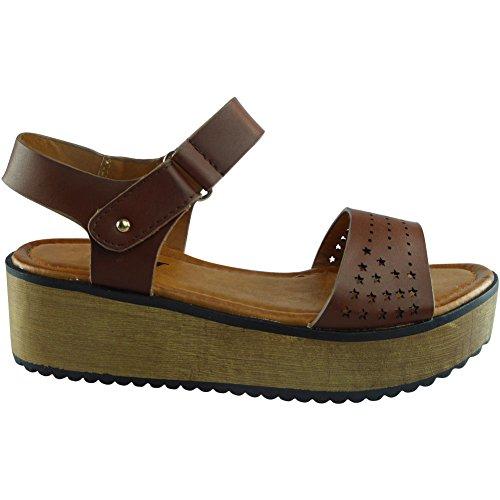 Nuovo Da donna Piattaforma Cuneo Estate sandali Scarpe Dimensione 36-41 abbronzatura
