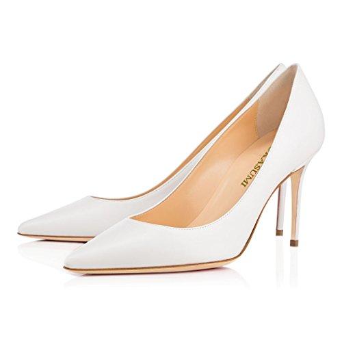 EDEFS Femmes Artisan Fashion Escarpins Classiques Pointus Chaussures à talon haut de 85mm Noir Blanc