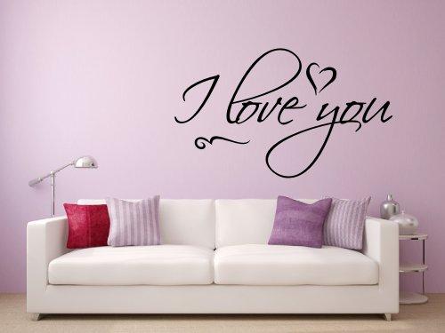 Wandtattoo 68098-29×17 cm, ~ Text: I love you ~ Wandaufkleber Wandtatoos Sticker Aufkleber für die Wand, Fensterbild, Tapetensticker, Türaufkleber, Tattoo aus Markenfolie – aus 32 Farben wählen