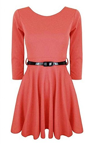 Momo Fashions - Jeunes Femmes manches 3/4 Robe patineuse EUR Taille 36-42 Corail