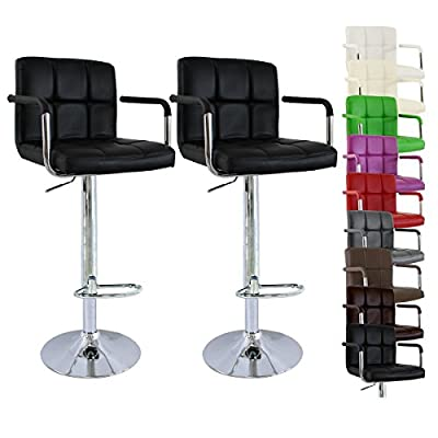 Woltu 26-8IPD-HFT6 2 Set Faux Leather Bar Stools with Arms and Backs Swivel Bar Stools Kitchen Stools Breafast Bar Stools Gas Strut Adjustable Seat height:62 to 84cm - inexpensive UK light shop.