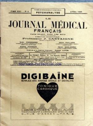 JOURNAL MEDICAL FRANCAIS (LE) [No 4] du 01/04/1933