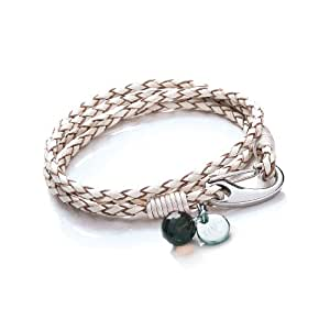 Tribal Steel Women's  White Leather 4-Strand Bracelet with SS Shrimp Clasp, Crystal Charm + Disc