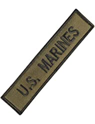 US Marines USMC Name Tape Olive Drab OD Green Embroidery Combat Hook&Loop Patch