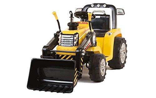 Mondial toys trattore per bambini con benna ruspa escavatore elettrico 12v con telecomando giallo