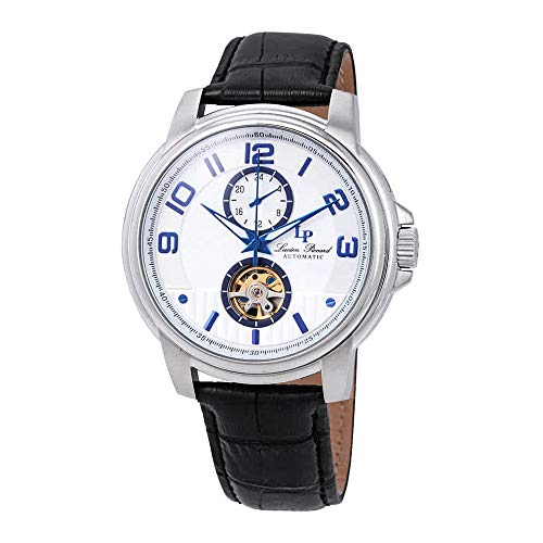 Lucien Piccard Open Heart Automatic Silver Dial Mens Watch LP-28001A-02S-BLA