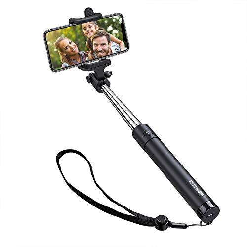 Bastone Selfie Monopiede, BlitzWolf 80cm Selfie Stick Bluetooth Estensibile con Cinturino Asta Selfie per iPhone X 8 Plus 7 6S 6 Plus 5S, Galaxy S9 S9 Plus Nota 8 S8 S8 Plus S7 S6 Huawei ecc