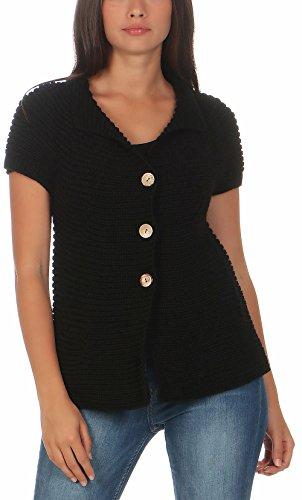 Malito Damen Strickweste mit Knöpfen | Cardigan im eleganten Design | Oversize Look - Weste - Jacke- Strickjacke 5060 (schwarz)