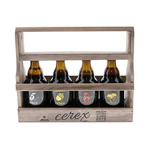 CEREX - Pack Degustación de 4 Cervezas Artesanas Españolas con caja regalo de presentación en madera - Cervezas de Cereza, Castaña, Ibérica de Bellota y Pilsen