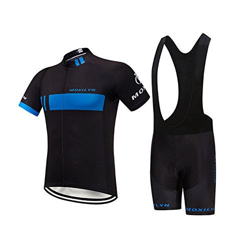 Womens Cycling Bib (T-XYD Mens/Womens Cycling Jersey halb Ärmel Rennteam atmungsaktives Radfahren Top + Fahrrad Fahren Bib Shorts Set,Black,L)