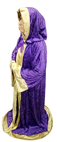 60' Length Purple Crushed Velvet Medieval Robe With Gold Edging Adult Size - WIZARD/MAGICIAN/SORCERER/LARP