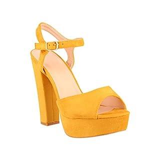 Elara Plateau Pumps   Bequeme Blockabsatz Schuhe   Wildlederoptik   chunkyrayan AT0982-Yellow-38