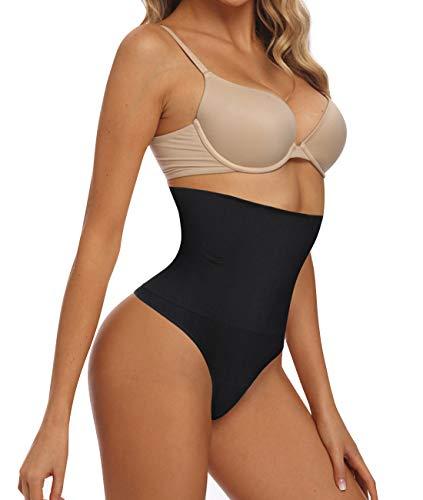 Bafully Damen Butt Lifter Shapewear Hohe Taille Miederslip Bauch Slimmer Thong Panty Nahtlose Body Shaping-Unterwäsche (M/L, Schwarz) -
