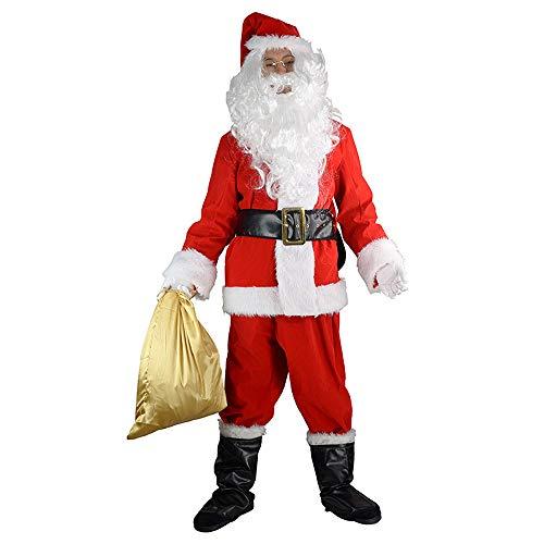 COOL THING Luxus Weihnachtsmann Kleidung SAMT Rot Männer Erwachsene Weihnachtsmann Kostüm Set 10 Stücke, Party Kostüm Cosplay,XXL