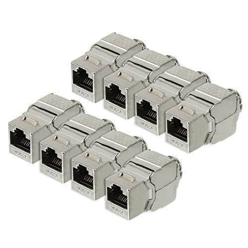 ZCHXD 8-Pack CAT 6 Keystone Jacks, RJ-45 Shielded Cat6 Network Module 10G Ethernet Solution Silver -