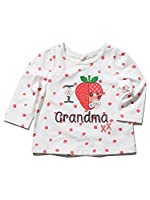 M&Co Baby Girl Pure Cotton Long Sleeve Keyhole Fastening Strawberry Embroidered I Love Grandma Slogan Top White 2/3 Yr