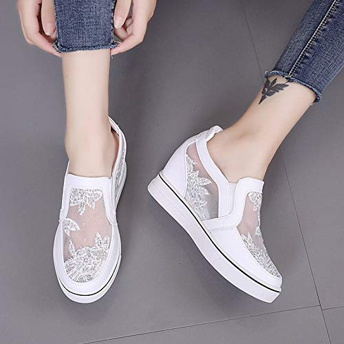 412Ko7T 0RL. SS500  - ZHZNVX Women's Shoes PU(Polyurethane) Summer Comfort Sneakers Wedge Heel Round Toe White/Silver