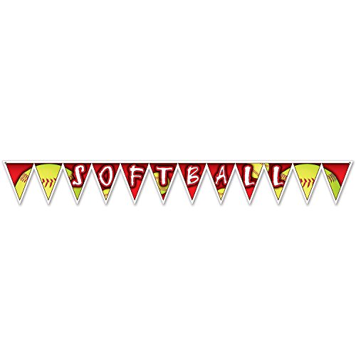 Beistle 54760 Softball Pennant Banner, 27,9 x 223,5 cm, farbenreiche (Elite Softball)