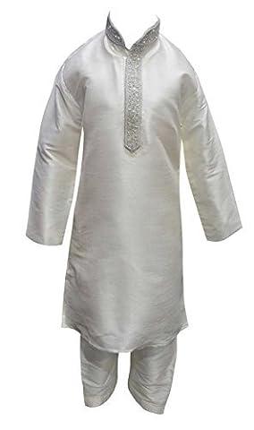 Garçons Blanc/argenté brut soie indien bollywood Sherwani Enfant Kurta salwar kameez 848 - blanc - One Size
