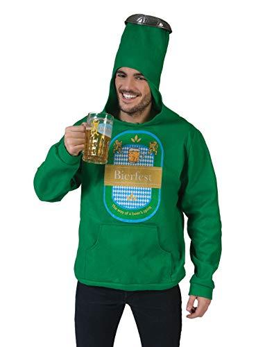 Grüne Bierflasche Kostüm - TrendClub100® Bierkostüm Bierflasche Bier Flasche Overall Kostüm Hoody (Bier 1)