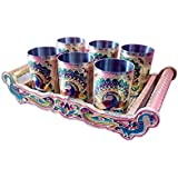 Sell On Royal Peacock Designed Stainless Steel Silver Serving Tray With 6-Glasses Set With Handle (Multi)