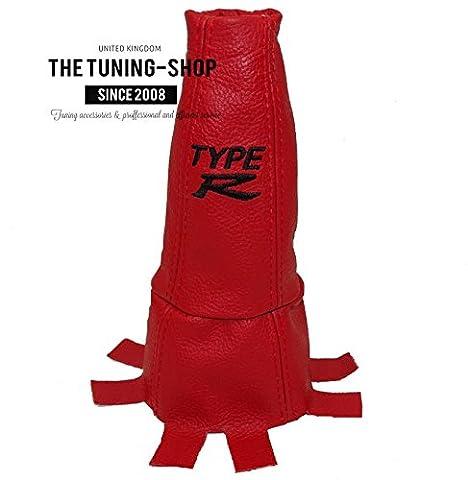 The Tuning-Shop Ltd Guêtre de levier de vitesse en cuir pour Honda Civic TypeR FN2 années2006-2012 Inscription «Type R» Rouge/noir