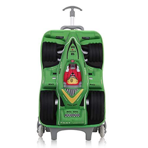MRDEER Rennstil Kinder Trolley mit 6 Räder Reisekoffer Trolley Kindertrolley Treppensteigen Koffer Handgepäck,45×28×15cm,Für Jungs, Mädchen,Green