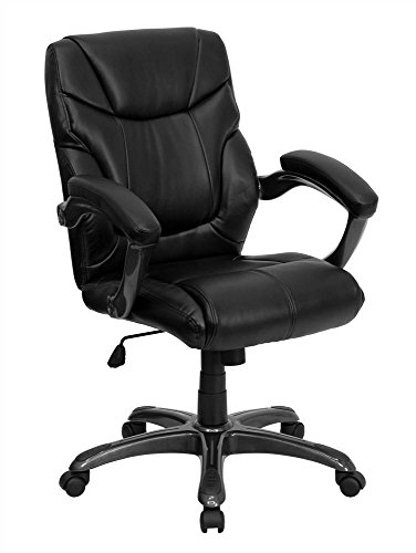 black-leather-mid-back-office-chair-w-swivel