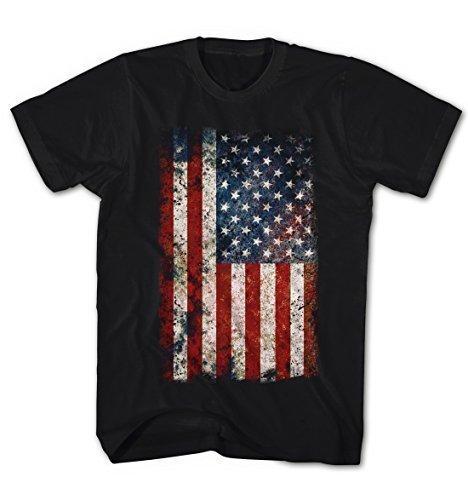 Herren T-Shirt USA Flagge Vintage Grunge Look Schwarz