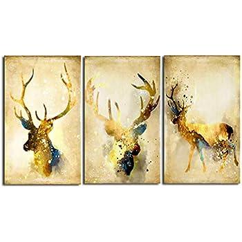 art.work Wandbild 80x80cm Hirsch Leinwand Leinwanddruck GERAHMT Kunstdruck