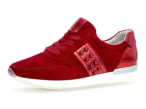 Gabor Damen Low-Top Sneaker 24.421.15, Frauen Halbschuh,Schnürschuh,Strassenschuh,Business,Freizeit,Rubin/Rosso,40 EU / 6.5 UK