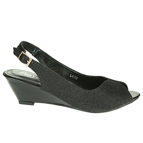 Femmes Dames Miroiter Peep Toe Slingback Talon compensé Soir Fête Mariage Prom De mariée Sandales Chaussures Taille Noir