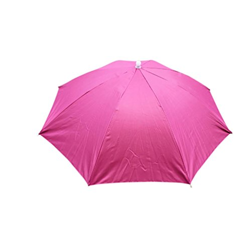 Malloom Novedad Plegable Paraguas de Cabeza Sombrero para el Sol y la Lluvia, para Golf, Pesca y Acampada (Rosa Caliente)