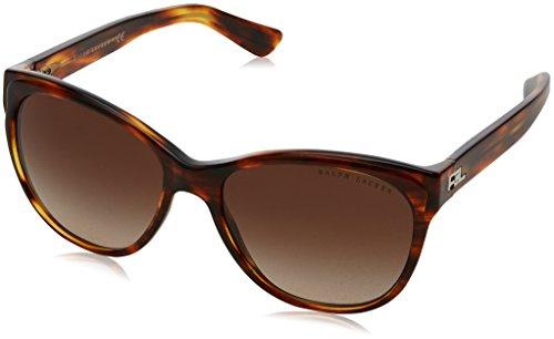 Ralph lauren 0rl81560713, occhiali da sole donna, marrone (striped havana/gradentbrown), 57