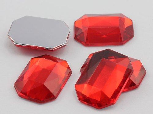 25 x 18 mm rouge Ruby A05 octogone perles en acrylique arrière plat de haute qualité Qualité Pro - 18 Pièces