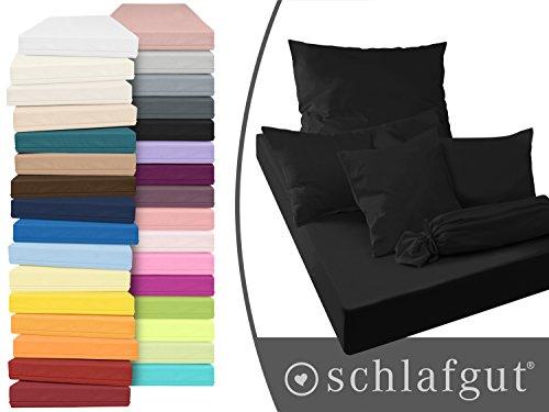Serie basic von schlafgut aus 100% Baumwolle in 30 Uni-Farben +++ Mako-Jersey-Spannbetttuch +++ Mako-Jersey-Kissenbezug erhältlich in 3 Größen, schwarz, Kissenbezug 80 x 80 cm