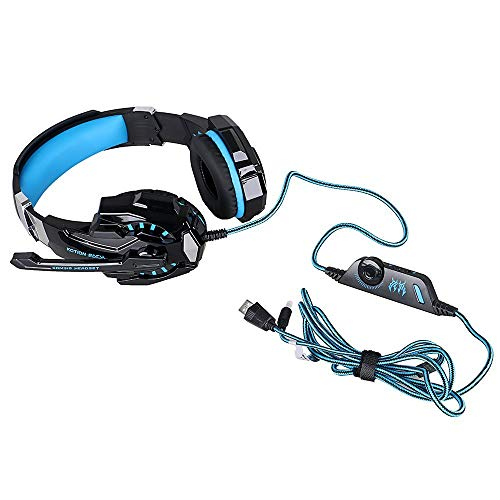 Kotion Every: Over the Ear Headsets with Mic & LED - G9000 Edition for PC/ iPad/ iPhone/ Tablets/ Mobile Phones (Black/Blue) Image 7
