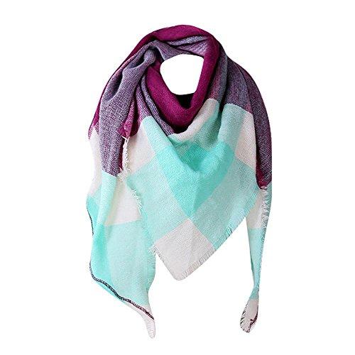 YEBIRAL Damen Schal Kariert übergroßer Frauen Tücher Halstuch Dreieck Schal(Violett)