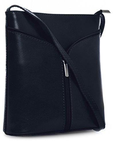BHBS Kleine Damenumhängetasche aus echtem italienischem Leder 18 x 20 x 6 cm (B x H x T) Navy