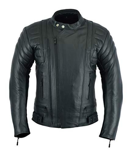 Giacca corazzata da uomo - per motocicletta, sportiva - altamente protettiva - in pelle (pieno fiore), colore nero - LJ-2020MR