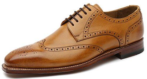 Gordon & Bros Milan 4371 Herren Businessschuhe, Schnürhalbschuhe, Anzugsschuhe, Derby Goodyear Leder Braun (tan), EU 43