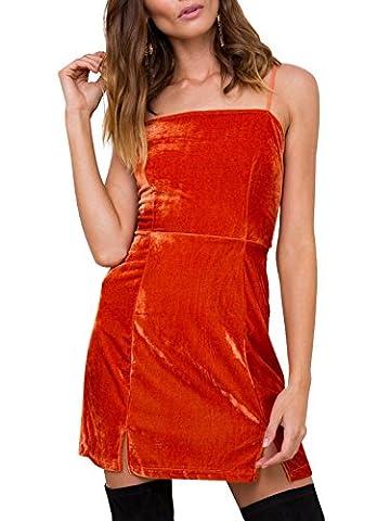 Simplee Women's Sexy Strap Bodycon Sleeveless Backless Velvet Club Mini Dress Bow Tie
